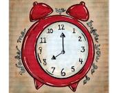 Red Retro Alarm Clock 8x8 Art Print - Wake Me Up Before You Go Go