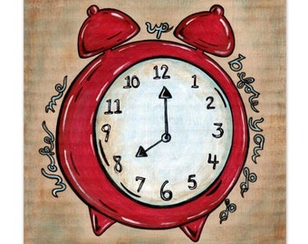 Red Retro Alarm Clock 8x8 Art Print - Wake Me Up Before You Go Go