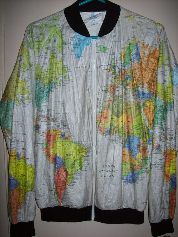 Vintage 80 39 s Paper World Map Jacket Coat Outerwear by RetroRealm