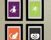 SALE - 50 Percent off- Only 4.00 -Printable PDF Set of Four Halloween Prints 5x7