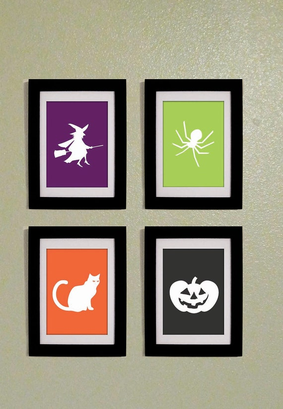 Printable PDF Set of Four Halloween Prints 5x7