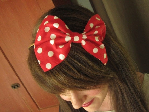 Red and White Polka Dot Bow Glitter Headband