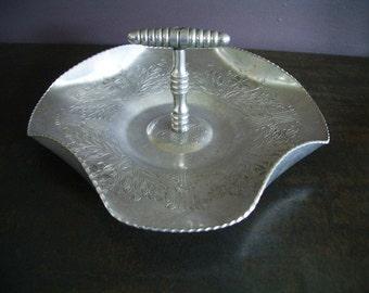 Vintage Aluminum Candy or Nut Dish- Hammered Aluminum