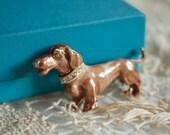Vintage 1960s WIENER DOG BROOCH // Hound Dog