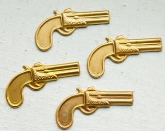 6 Vintage Brass Old West Pistol Stampings