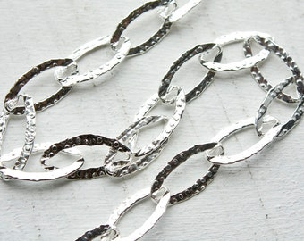 3 feet, Large link Italian Sterling Silver Chain, Textured Flat Oval Links, M/RWB090H2