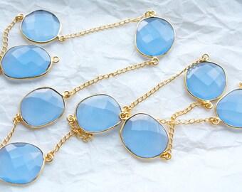 2 Feet Bezel Set Dreamy Blue Chalcedony Stones with 18k Gold Vermeil Chain