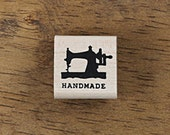 Antique Style Sewing Machine Stamp with text of Handmade, U3350