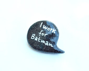 Batman polymer clay brooch black pin