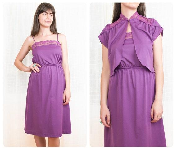 1970s Purple Dress Set - 70s Lace Dress and Bolero Jacket - S