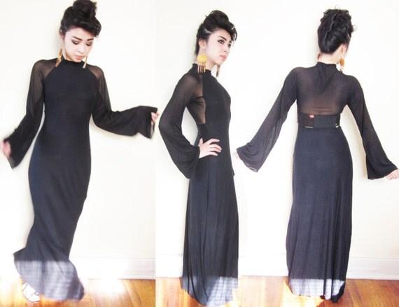 CUSTOM Jersey Maxi Mesh Backless Bell Sleeve Sleek Sexy Body Con Empire Waist Dress