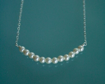 Wedding Pearl Necklace.  Bridesmaid Pearl Necklace.  Petite Swarovski Pearl Necklace on Sterling Silver