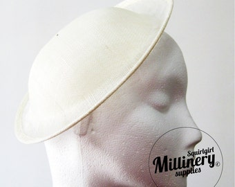 Ivory Deep Crown Saucer Sinamay Fascinator Hat Base for Millinery