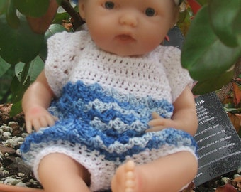"""Crocheted blue varigated bubble outfit fits 7-8"""" skinny baby dolls"""