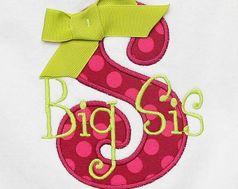 Big Sister Shirt, Monogrammed, Personalized, Sibling Shirt, Birth Order Shirt, Custom Fabric and Font, Sibling Shirt, Great Gift