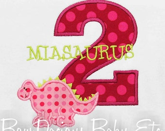 Girls Dinosaur Birthday Shirt, Number, Monogrammed, Appliqued, Shirt, Tank,Bodysuit,Romper,Sizes 3 months up to 12 years,Gift