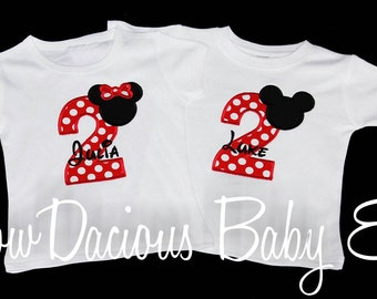 Twins Mickey and Minnie Birthday Number Shirts, Twins Birthday Shirts, Custom Fabrics, Girls Birthday Shirt, Shirt, Tank,Bodysuit ,Gift