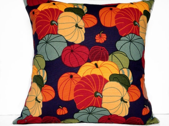 SALE 50% OFF Halloween Pillow Cover Pumpkins Gourds - Red Green Purple Mustard Orange Rust Gray Blue - Repurposed 18x18