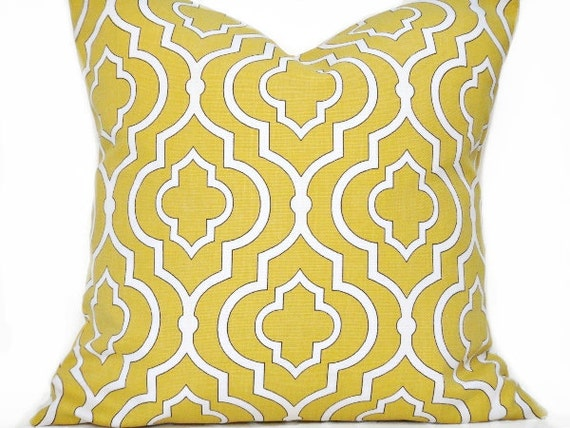 Mustard Pillow Covers Quatrefoil Moroccan Honey Gold White Black Decorative Pair 16x16