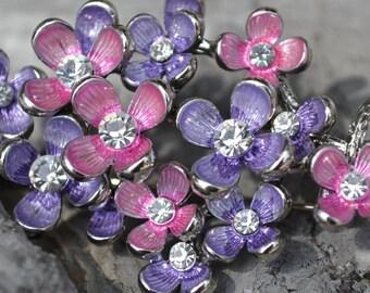 Vintage Rhinestone Flower Branch Brooch Pin