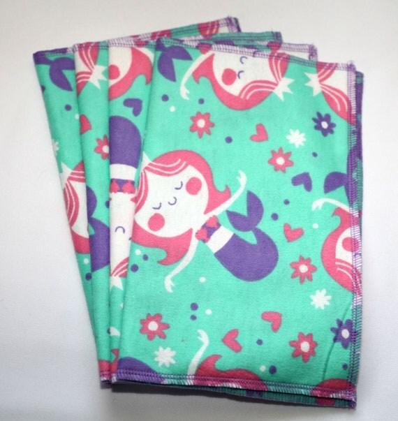 Pretty Mermaid Princess Kids Cloth Napkins 4 pack