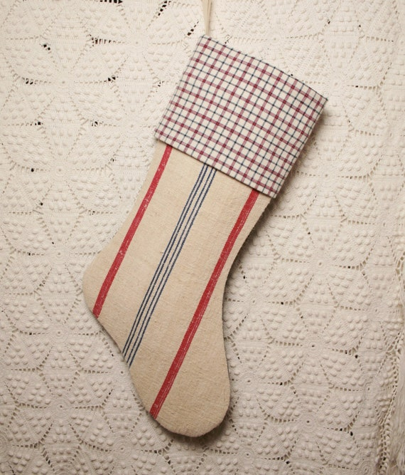 Vintage French Grain Sack Linen and Ticking Christmas Stocking
