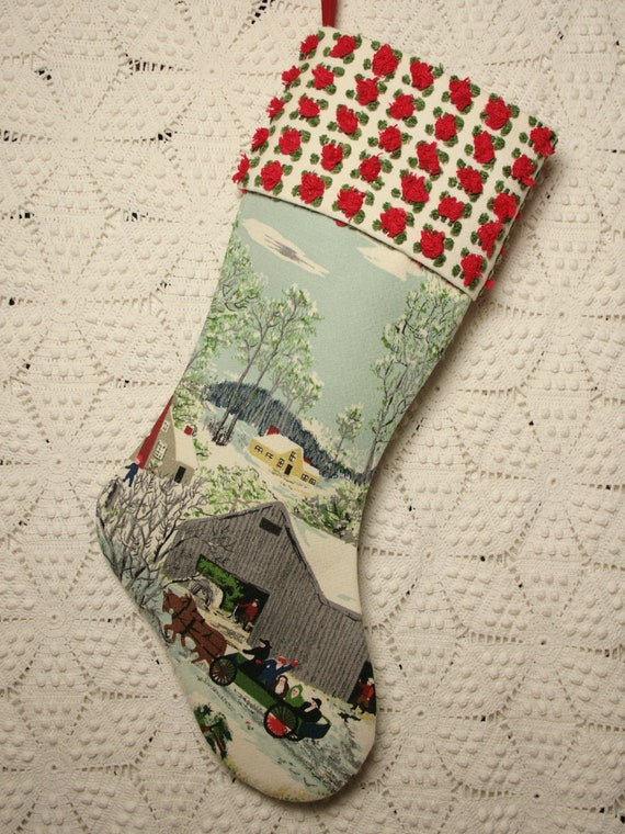 Grandma Moses 'Early Springtime in the Snow' Vintage Barkcloth Christmas Stocking with Red Rosebud Vintage Chenille Cuff