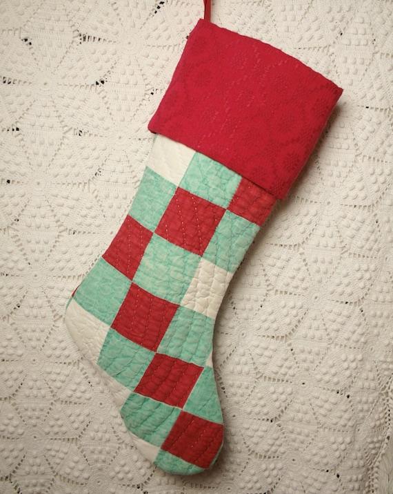 Triple Irish Chain Vintage Quilt Christmas Stocking