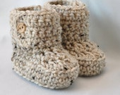 Baby Booties, Crochet Baby  Boots with button top, size 0 to 6 Months