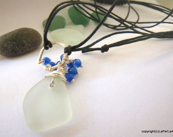 MERMAID NESTED sea glas - Organic  Sea Glass pendant on sterling silver wire and blue agate beads - Genuine Natural Amalfi Sea Glass