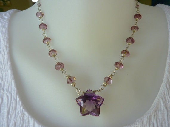Sale, necklace, pink & lavender amethyst gems, star shaped quality amethyst  gem,  fine jewelry