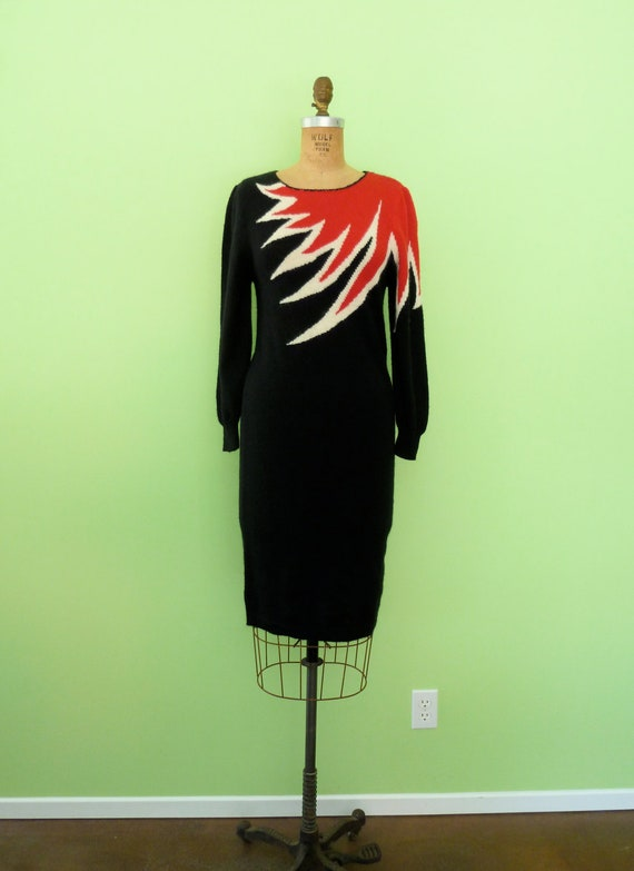 Vintage 80s Sweater Dress Black Red Flames Thunderbolt Novelty Knit Dress XS Small
