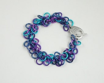 Chain maille fringe bracelet blue, turquoise, purple, violet anodized aluminum