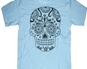 Mens unisex T-shirt --- Sugar Skull ---- sizes sm med lg xl xxl 3xl, 4xl, 5xl skip n whistle