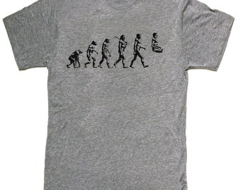 Mens unisex T-shirt --- Yoga Evolution -- sizes sm med lg xl xxl skip n whistle