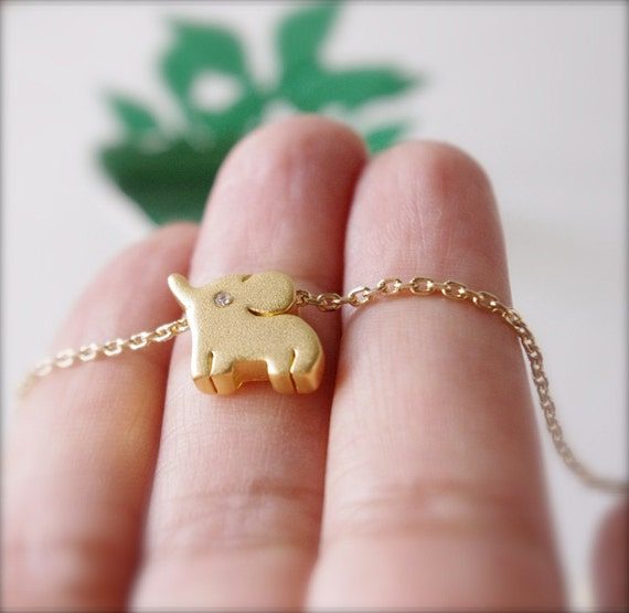 Elephant Necklace, 22K Gold Plated Brass Baby Elephant Necklace, Gold Filled Chain, Cute Small Elephant Charm Crystal Eyes, Lucky Jewelry