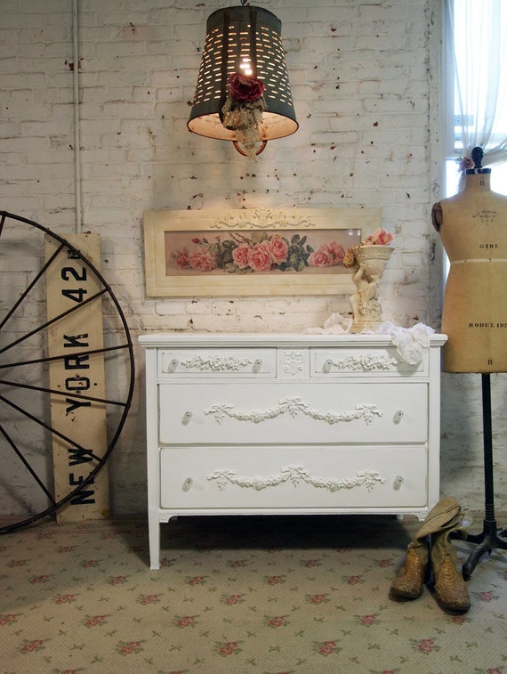 Painted Cottage Chic Shabby White Dresser DR409