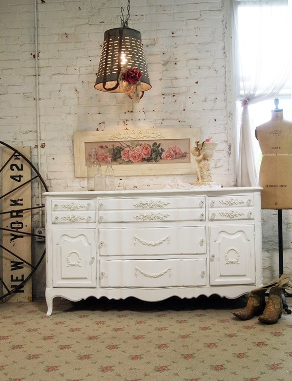 Painted Cottage Chic Shabby White Vintage French Server SV303