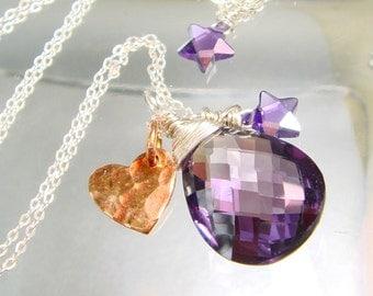 Amethyst Necklace, AAA Amethyst Quartz Gemstone Charm, 24K Vermeil Rose Gold Hilltribe Heart, DISCOUNTED was 68.00, February Birthstone