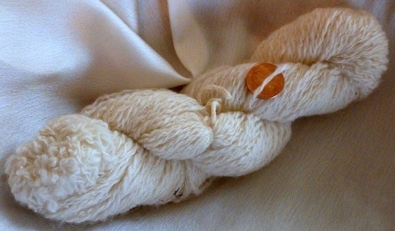 CLEARANCE- Handspun Yarn- 2ply fingering weight- Merino Wool- Natural Color