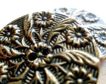Vintage Flower and Feather Buttons, Brass Color