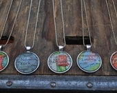 Personalized Map Pendant Necklace from Vintage Atlas 5 Necklaces