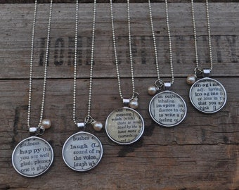 Personalized Vintage Dictionary Word Necklace Pendant- 5 Necklaces