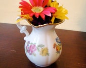 Small Ivory China Pitcher or Vase with Gold Trim and Floral Design