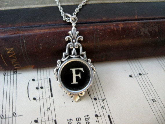 Typewriter Key Jewelry - Necklace - Letter F