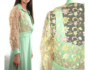 1970s maxi dress, embroidered jacket, mint green dress, sheer flowered jacket - Size M L