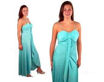 Maxi dress, 70s prom dress formal dress mint green dress, Grecian Goddess, draped Size S/M