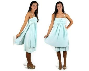 1970s baby doll dress, mint green dress, crystal pleats, micro pleats, empire waist, tiered dress, apron dress, Act I dress, Size 9