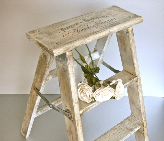 French Step Stool, Vintage Stool, Wood Ladder, French Script, French Country, Rustic Farmhouse, Shabby and Chic, Cottage Chic, Gray