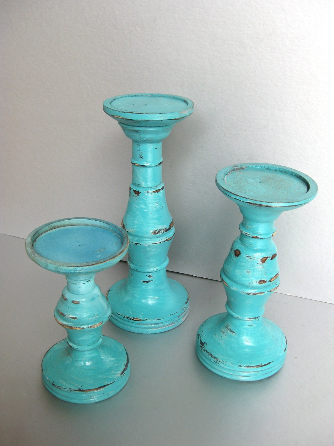 Turquoise Candle Pillars Wood Candle Holders By Swede13cottage
